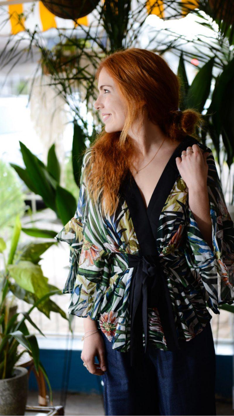 Palm Floral Kimono Wrap