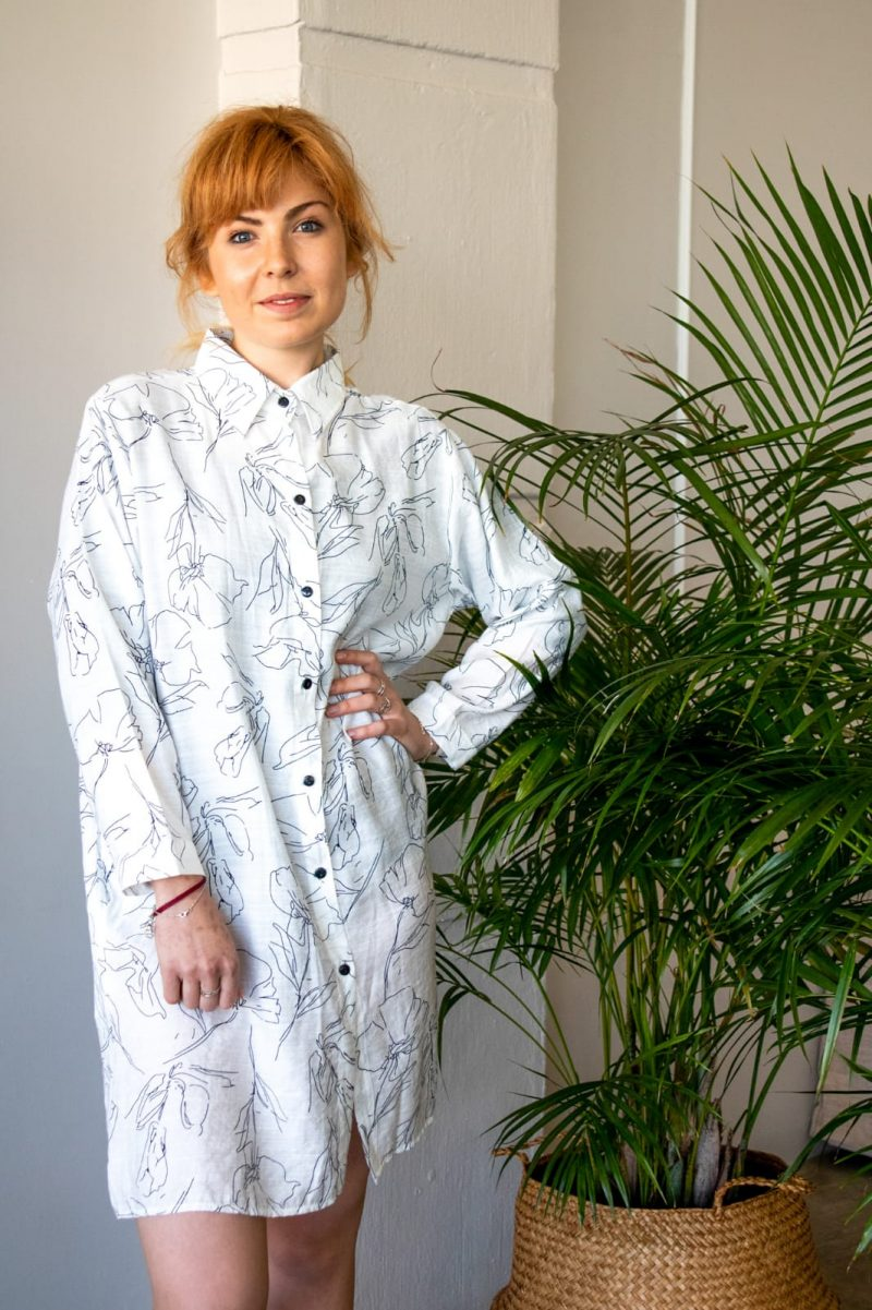 Line Drawing Shirt Dress- White