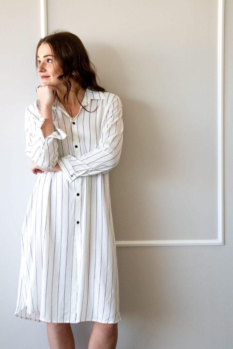Pinstripe Shirt Dress – White