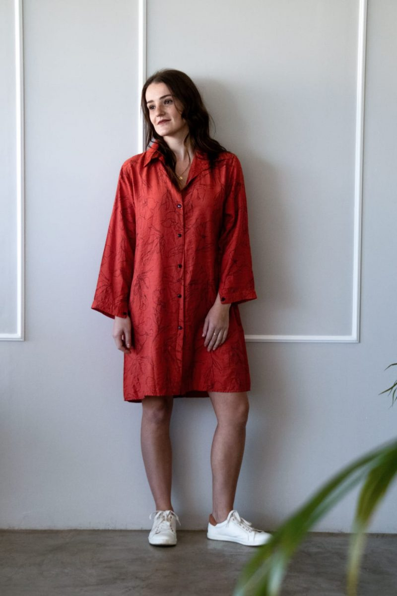 Line Drawing Shirt Dress- Rust