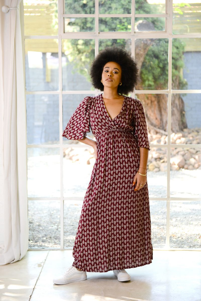 Empire Dress – Burgundy