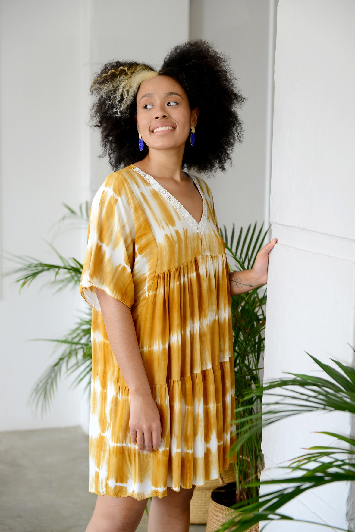 Tie Dye Tunic Dress- Mustard